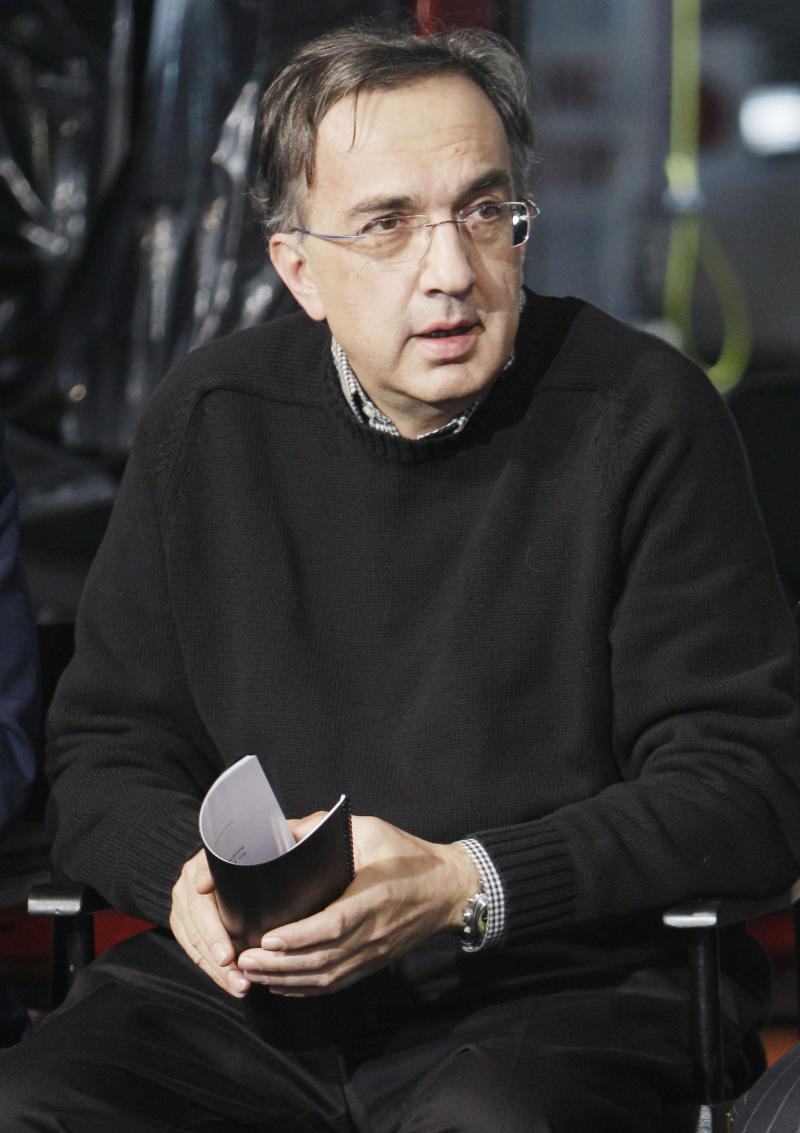 FILE - In this Jan. 18, 2011 file photo, Chrysler Group CEO Sergio Marchionne is seen at a news conference at the Windsor Assembly Plant in Windsor, Ontario. Fiat and Chrysler CEO Sergio Marchionne said Monday, April 11, 2011, that the Italian automaker will increase its stake in Chrysler by 5 percent within days.(AP Photo/Carlos Osorio, file)