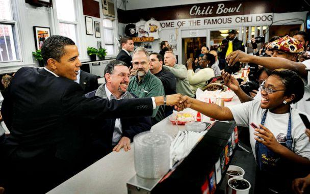 PHOTO: In this Jan. 10, 2009, file photo, President elect Barack Obama meets DC Mayor Adrian Fenty for lunch at a DC institution, Ben's Chili Bowl. (Linda Davidson/The Washington Post via Getty Images, FILE)