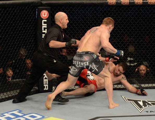 LAS VEGAS, NV - DECEMBER 29: (L-R) Phil De Fries versus Todd Duffee during their heavyweight fight at UFC 155 on December 29, 2012 at MGM Grand Garden Arena in Las Vegas, Nevada. (Photo by Donald Miralle/Zuffa LLC/Zuffa LLC via Getty Images)