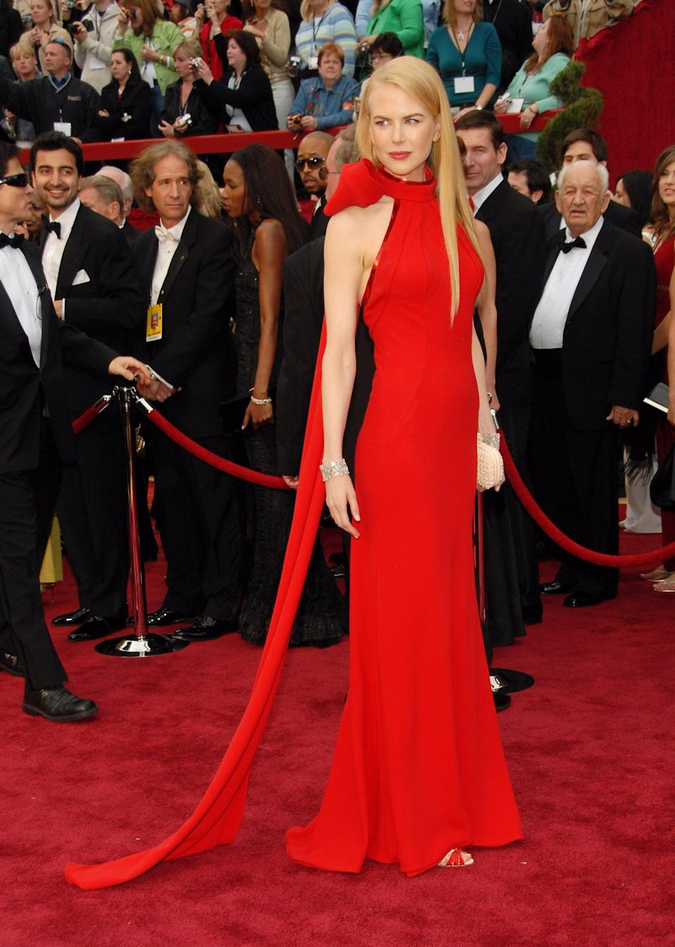 <p>The actress wore a red gown by Balenciaga's former designer Nicolas Ghesquière on the red carpet.</p>