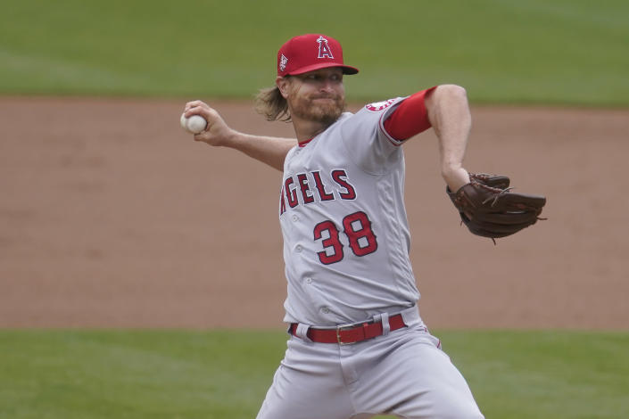 Los Angeles Angels' Alex Cobb pitches against the Oakland Athletics during the first inning of a baseball game in Oakland, Calif., Saturday, May 29, 2021. (AP Photo/Jeff Chiu)