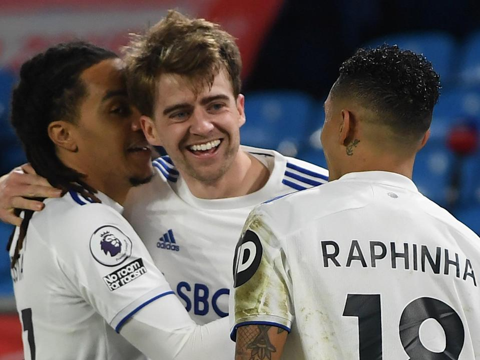 Patrick Bamford (centre) and Raphinha got on the scoresheet in Leeds' win over Southampton (POOL/AFP via Getty Images)