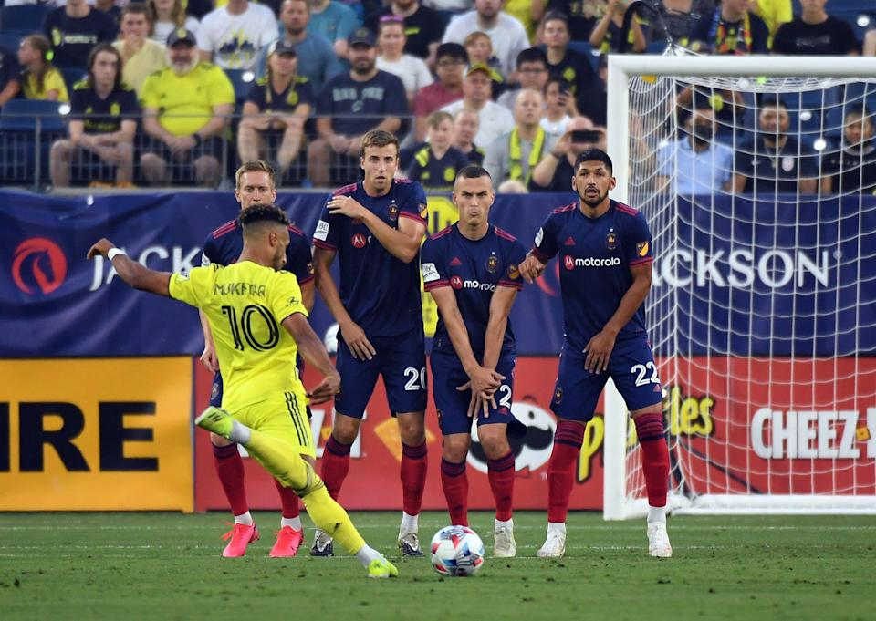 Hany Mukhtar (10) scored the second-fastest hat trick in MLS history in Nashville SC's 5-1 win over the Chicago Fire at Nissan Stadium.