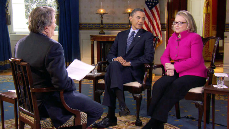 """FILE - In this Jan. 25, 2013 file image taken from video and provided by CBS, President Barack Obama, center, and Secretary of State Hillary Rodham Clinton speak with """"60 Minutes"""" correspondent Steve Kroft, left, in the Blue Room of the White House in Washington. The interview will air Sunday, Jan. 27 during the """"60 Minutes"""" telecast on CBS. (AP Photo/CBS, File)"""