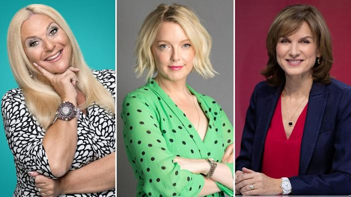 Left to right: Vanessa Feltz, Lauren Laverne and Fiona Bruce are also in the top 10