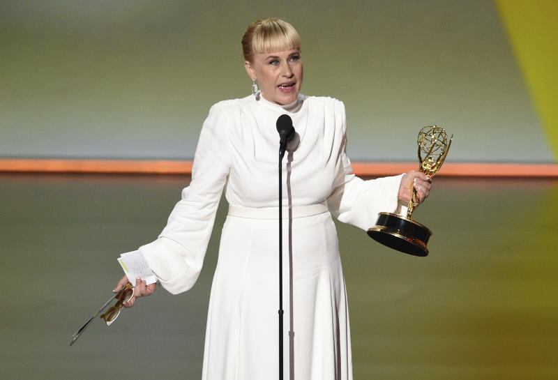 "Patricia Arquette accepts the award for outstanding supporting actress in a limited series or movie for ""The Act"" at the 71st Primetime Emmy Awards on Sunday, Sept. 22, 2019, at the Microsoft Theater in Los Angeles. (Photo by Chris Pizzello/Invision/AP)"