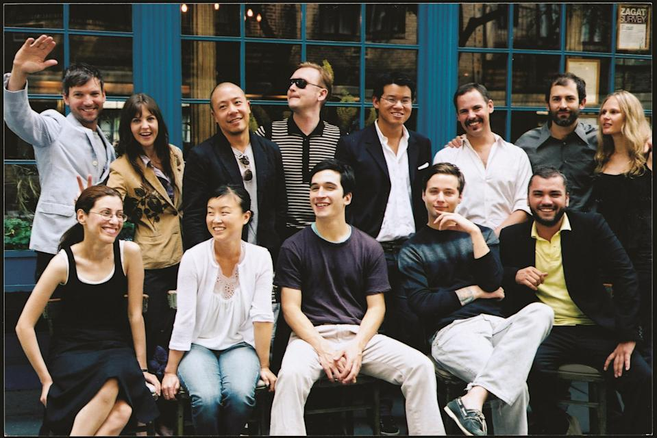 The first group of CFDA/Vogue Fashion Fund finalists, in 2004. TOP ROW, from left: Libertine's Johnson Hartig and Cindy Greene, Derek Lam, Cloak's Alexandre Plokhov, Peter Som, Dean Harris, and Habitual's Michael and Nicole Colovos. BOTTOMROW, from left: Behnaz Sarafpour, Doo.ri's Doo-Ri Chung, Proenza Schouler's Lazaro Hernandez and Jack McCollough, and Edmundo Castillo.