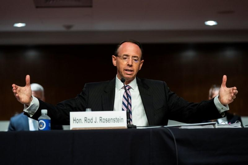 Rosenstein testifies in Republican-led Senate Trump-Russia probe