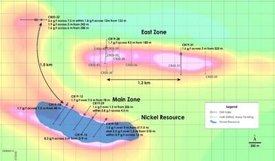 Figure 2 – Plan view of PGM Zone - Recent drilling overlain on total field magnetic intensity, Crawford Nickel-Cobalt Sulphide Project, Ontario. (CNW Group/Canada Nickel Company Inc.)