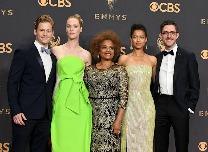 "Actors Gavin Stenhouse, Mackenzie Davis, Denise Burse, Gugu Mbatha-Raw and Billy Griffin Jr. of the ""Black Mirror"" episode ""San Junipero,"" winner of the award for Outstanding Television Movie. (Steve Granitz via Getty Images)"