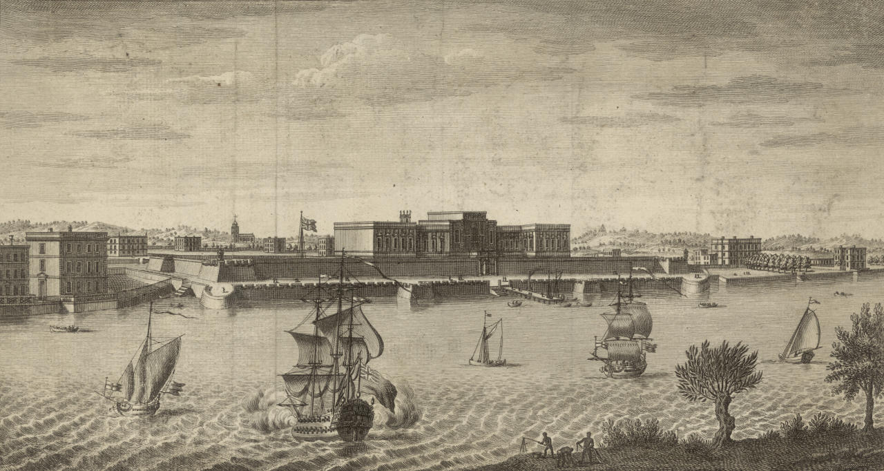 A view across the Hoogli (or Hooghly) River to Fort William, Kolkata (Calcutta), circa 1760. Built by the British East India Company, the fort was the scene of the disputed atrocity known as the 'Black Hole of Calcutta' in 1756. (Photo by Hulton Archive/Getty Images)