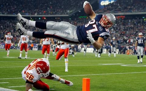 <span>Gronkowski goes aerial to score against the Kansas City Chiefs</span> <span>Credit: REUTERS </span>