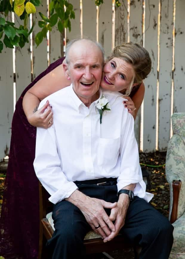 Tanya Gill and her father George Baranec. Gill's father died at age 85 in December 2020, after contracting COVID-19. She's now urging others to take precautions, as cases grow in Lethbridge and surrounding areas of southern Alberta. (Submitted by Tanya Gill - image credit)