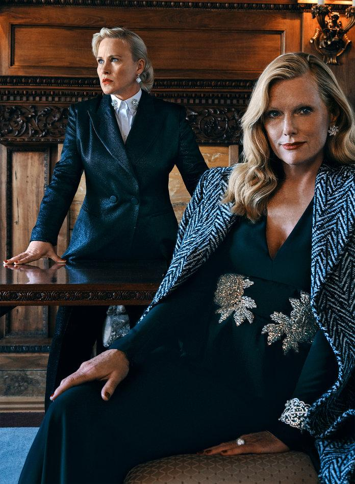 <p>On Arquette: Marina Rinaldi blazer and pants. Dolce &amp; Gabbana shirt. Chanel Fine Jewelry earrings. On Hansen: Givenchy coat. Alexander McQueen gown from Neiman Marcus. Chopard earrings, bracelet, and ring.</p> | Photo by Paul McLean