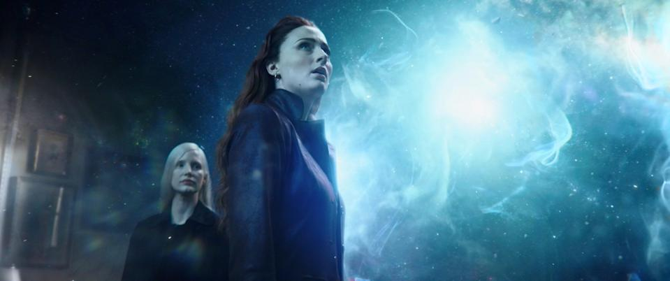 """Jessica Chastain (left) plays an otherworldly being who takes an interest in the new god-like abilities of Jean Grey (Sophie Turner) in """"Dark Phoenix."""""""