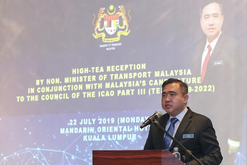 Transport Minister Anthony Loke speaks at the high-tea reception with ambassadors and high commissioners at Mandarin Oriental Hotel in Kuala Lumpur July 22, 2019. — Picture by Yusof Mat Isa