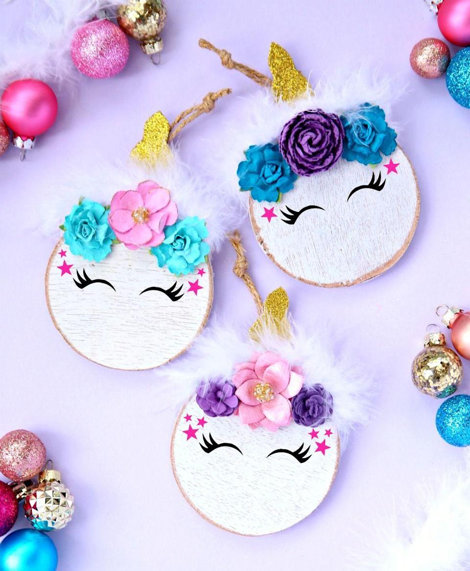 """<p>Another clever way to make use of an embroidery hoop—this time to craft a mythical creature. </p><p><em>Get the tutorial at <a href=""""https://www.happygoluckyblog.com/unicorn-christmas-tree-ornament/"""" rel=""""nofollow noopener"""" target=""""_blank"""" data-ylk=""""slk:Happy Go Lucky Blog"""" class=""""link rapid-noclick-resp"""">Happy Go Lucky Blog</a>.</em></p><p><a class=""""link rapid-noclick-resp"""" href=""""https://www.amazon.com/Caydo-Embroidery-Adjustable-Bamboo-Wholesale/dp/B07H9X7NMT?tag=syn-yahoo-20&ascsubtag=%5Bartid%7C10072.g.34443405%5Bsrc%7Cyahoo-us"""" rel=""""nofollow noopener"""" target=""""_blank"""" data-ylk=""""slk:SHOP EMBROIDERY HOOP"""">SHOP EMBROIDERY HOOP</a></p>"""