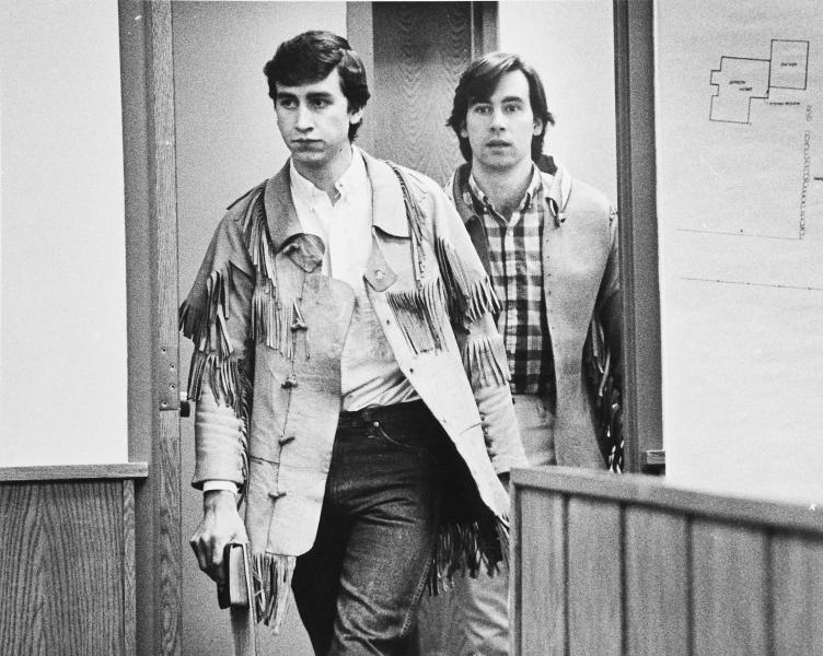 FILE - This undated file photo shows Jonathan Swapp, left, and Addam Swapp, right, enter a Coalville, Utah courtroom. Swapp, the man who bombed a Mormon church building and sparked a 13-day standoff in 1988 that left a corrections officer dead at a polygamist compound, was released from prison on Tuesday, July 9, 2013, after more than 25 years behind bars. Swapp, 52, was accompanied by family members as he left Sanpete County Jail three months after members of the state board of pardons and parole approved his release, saying he had shown remorse for leading the standoff in Marion. (AP Photo/The Salt Lake Tribune, Lynn R. Johnson, file)