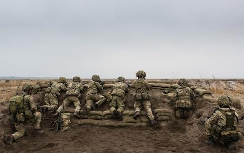 Soldiers from the British Army's 1st Battalion The Royal Welsh (1 R WELSH), scan the horizon for the enemy during Exercise Black Eagle in Poland - Credit: SSgt Mark Nesbit RLC (Phot)/ MoD/Crown copyright