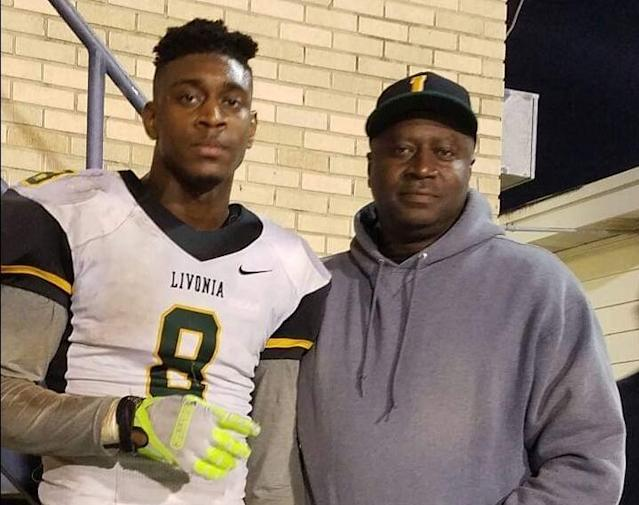 Dwayne Queen put his son Patrick, left, through rigorous workouts as a child. They paid off in a football scholarship to LSU. (Photo courtesy of the Queens)