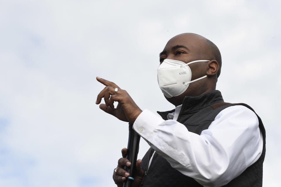 Democratic U.S. Senate candidate Jaime Harrison of South Carolina speaks at a campaign rally on Sunday, Nov. 1, 2020, in Hollywood, S.C. (AP Photo/Meg Kinnard)