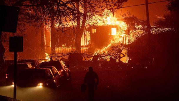 PHOTO: A home is engulfed in flames as wind and embers rip through the area during the Kincade fire near Geyserville, Calif., Oct. 24, 2019. (Josh Edelson/AFP via Getty Images)