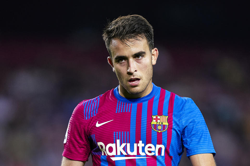 BARCELONA, SPAIN - AUGUST 15: Eric Garcia of FC Barcelona looks on during the La Liga Santander match between FC Barcelona and Real Sociedad at Camp Nou on August 15, 2021 in Barcelona, Spain. (Photo by Pedro Salado/Quality Sport Images/Getty Images)