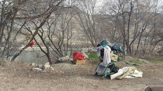 Residents of the Valleyview neighbourhood in Kamloops, B.C., have complained to the city council about what they say is the growing problems of theft and trash left by homeless campers along the banks of the South Thompson River. (Melissa Martin - image credit)