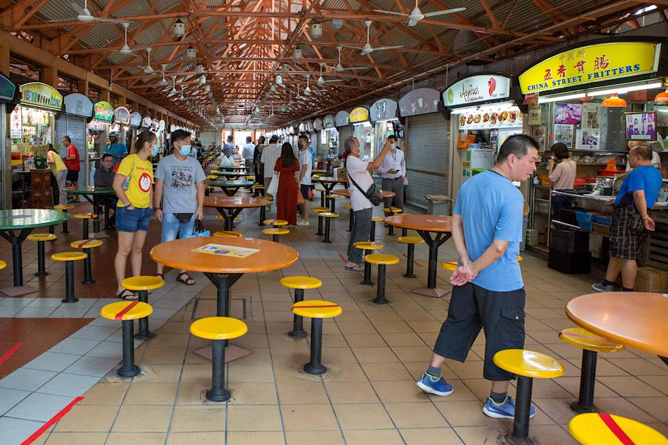 The Maxwell Food Centre seen on 7 April 2020, the first day of Singapore's month-long circuit breaker period. (PHOTO: Dhany Osman / Yahoo News Singapore)
