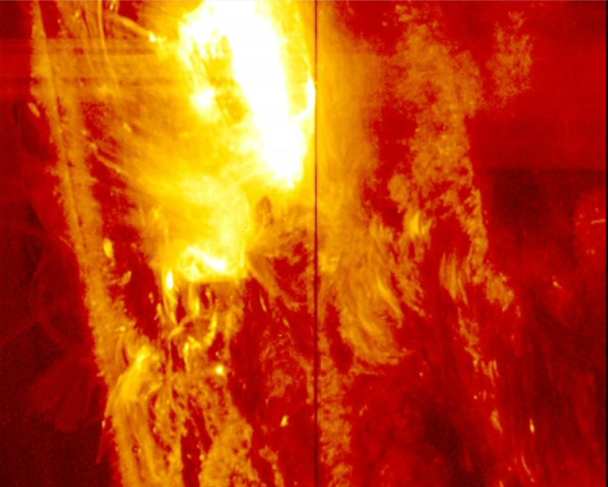 A strong solar flare on the surface of the sun is seen in this image from NASA's Interface Region Imaging Spectrograph taken January 28, 2014 and released on February 25, 2014. Solar flares are bursts of x-rays and light that stream out into space, but scientists don't yet know the fine details of what sets them off, according to a NASA news release. REUTERS/NASA/IRIS (OUTER SPACE - Tags: SCIENCE TECHNOLOGY) THIS IMAGE HAS BEEN SUPPLIED BY A THIRD PARTY. IT IS DISTRIBUTED, EXACTLY AS RECEIVED BY REUTERS, AS A SERVICE TO CLIENTS. FOR EDITORIAL USE ONLY. NOT FOR SALE FOR MARKETING OR ADVERTISING CAMPAIGNS