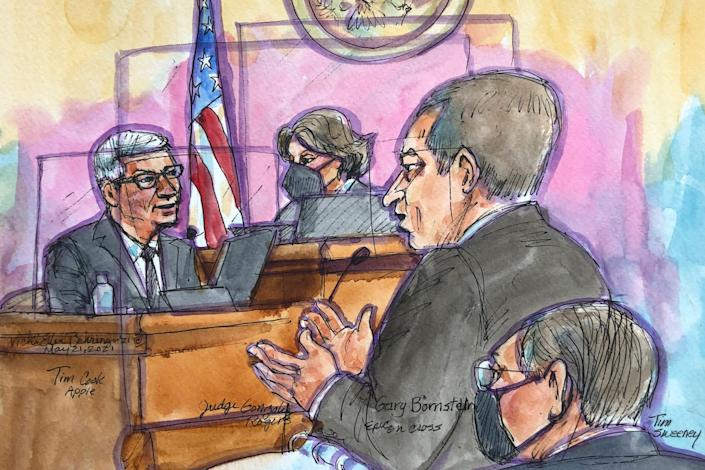 In this courtroom sketch Apple CEO Tim Cook, left, is cross examined by Epic Games lawyer Gary Bornstein, second from right, during a trial in San Ramon, Calif., on Friday, May 21, 2021.