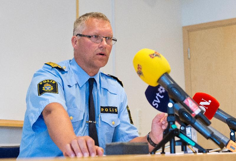 Per Agren, Local Police Area Manager, addresses the press in Vaesteraas, Sweden, on August 10, 2015 (AFP Photo/Jonathan Nackstrand)