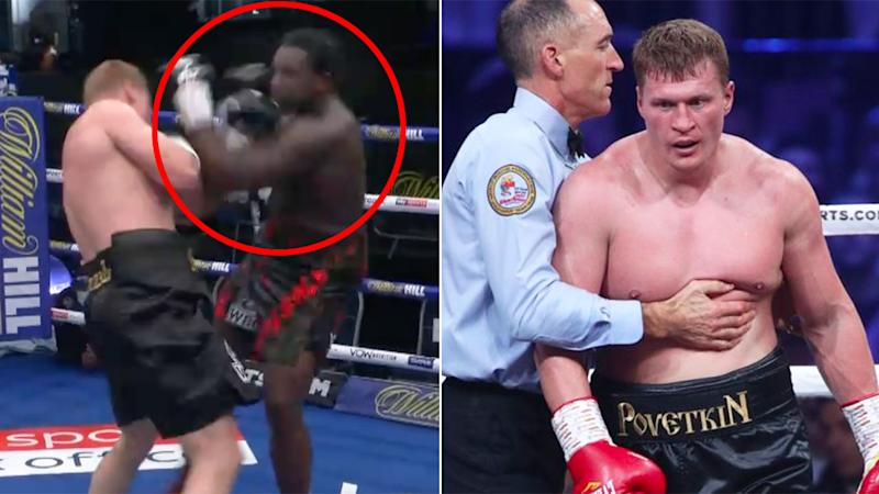 Pictured here, Alexander Povetkin sealed an incredible KO victory over Dillian Whyte.