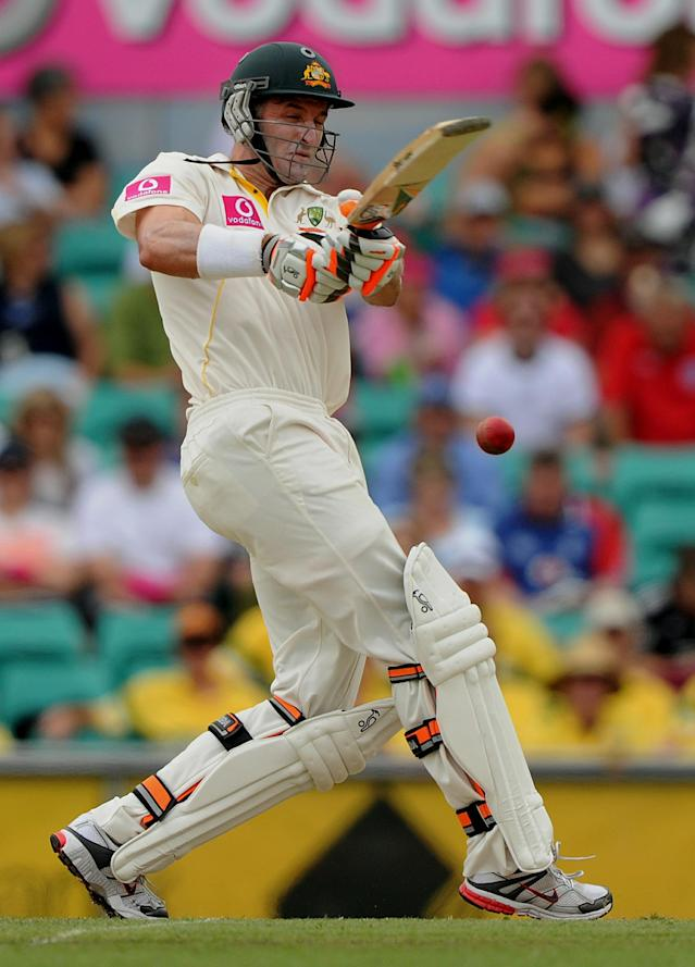 Australia's Michael Hussey plays a pull shot on day two of the fifth Ashes cricket Test against England at the Sydney Cricket Ground on January 4, 2011. Australia won the toss and elected to bat and were 173-6 as play continued. IMAGE STRICTLY RESTRICTED TO EDITORIAL USE - STRICTLY NO COMMERCIAL USE AFP PHOTO / Greg WOOD (Photo credit should read GREG WOOD/AFP/Getty Images)