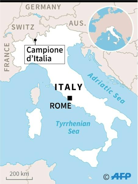 Map locating Campione d'Italia, an Italian enclave inside the Swiss canton of Ticino, where a casino is closing