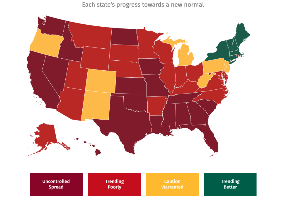 A map showing the coronavirus progress of US states on August 20, with about only half having an 'uncontrolled spread'.