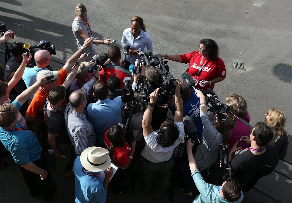 LONDON, ENGLAND - AUGUST 01: Sanya Richards-Ross speaks to the media during team USA training for athletics on Day 5 of the London 2012 Olympic Games on August 1, 2012 in London, England. (Photo by Streeter Lecka/Getty Images)