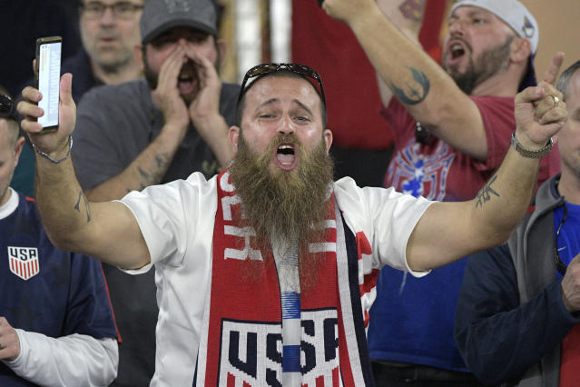 United States fans react during the first half of an international friendly soccer match against Ecuador, Thursday, March 21, 2019, in Orlando, Fla. (AP Photo/Phelan M. Ebenhack)