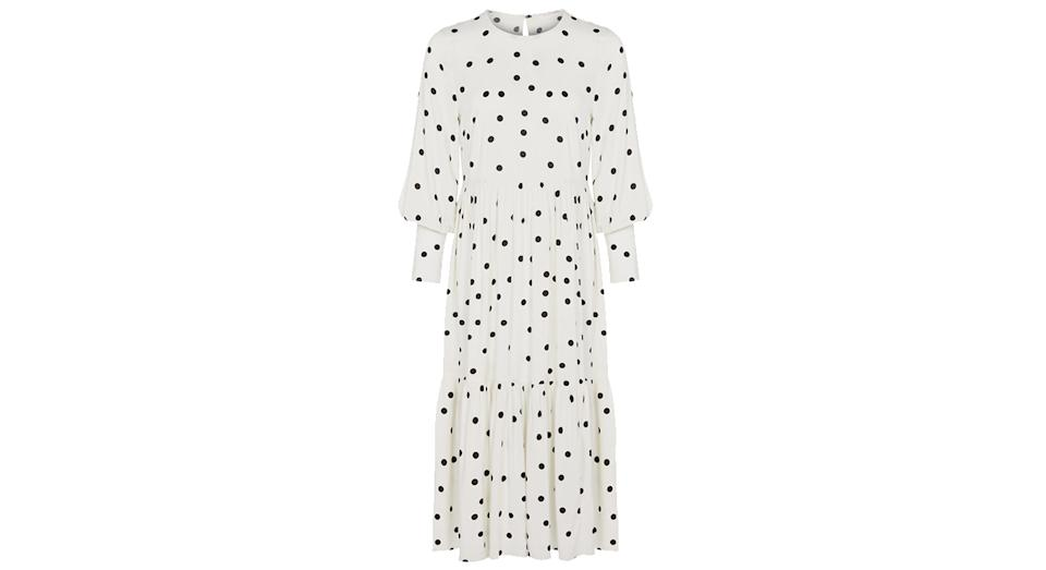 FINERY LONDON Polka Dot Round Neck Midi Tiered Dress