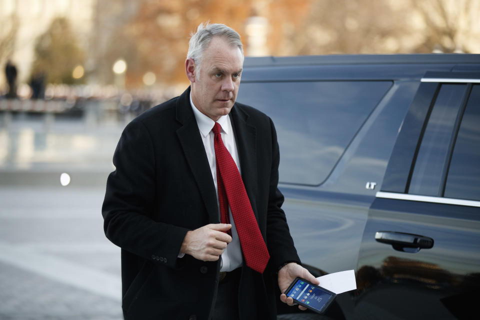 Secretary of the Interior Ryan Zinke arrives at the Capitol. (Photo: Shawn Thew/Pool/Getty Images)