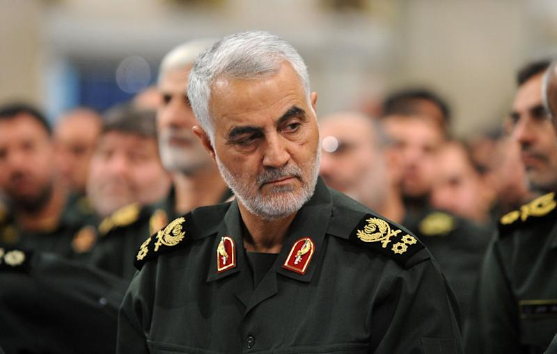 TEHRAN, IRAN - (ARCHIVE): A file photo dated September 18, 2016 shows Iranian Revolutionary Guards' Quds Force commander Qasem Soleimani during Iranian Supreme Leader Ayatollah Ali Khamenei's meeting with Revolutionary Guards, in Tehran, Iran. The U.S. confirmed Thursday that it carried out a strike that killed Iranian Revolutionary Guards' Quds Force commander Qasem Soleimani in the Iraqi capital Baghdad. The strike near Baghdad International Airport killed Soleimani, one of the most powerful commanders of Iran's Revolutionary Guards, and Abu Mahdi al-Muhandis, vice president of the Hashd al-Shaabi group, or Popular Mobilization Units (PMU), local media reported. (Photo by Pool / Iranian Supreme Leader Press Office /Anadolu Agency via Getty Images)