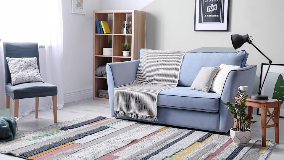 boring living room interior with furniture