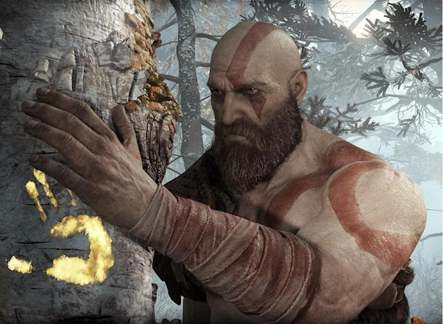 A tremendous amount of time has passed between 'God of War III' and the new 'God of War,' and it shows on Kratos' aged face.