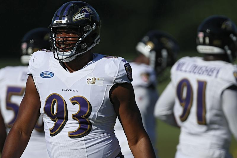 Defensive end Calais Campbell #93 of the Baltimore Ravens