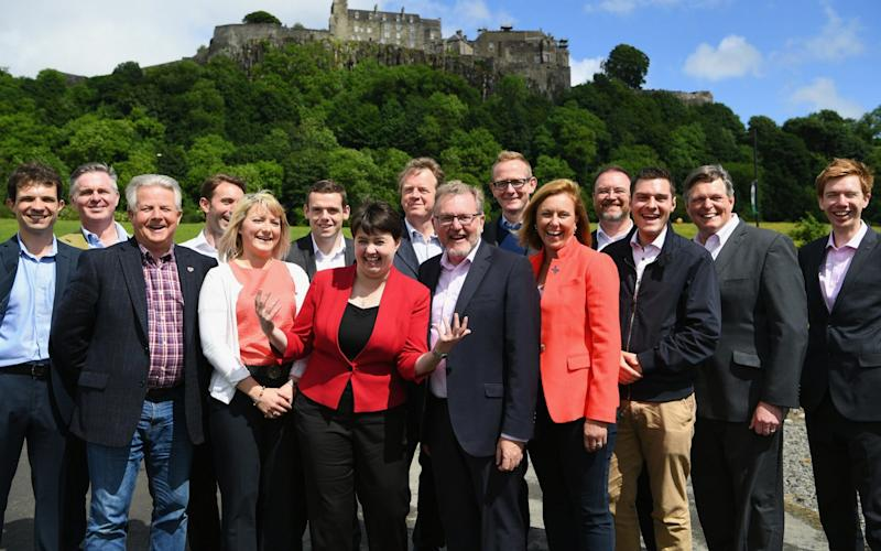 Ruth Davidson with the group of Scottish Tory MPs after June's snap election - Getty Images Europe