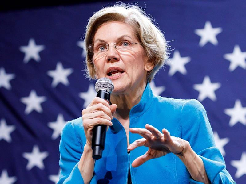 Democratic presidential candidate, US Senator Elizabeth Warren, addresses supporters during her campaign event: EPA