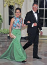 "<p>The ""Korean Canadian Los Angeleno"" actress embraced the forthcoming season for the state dinner wearing a kelly green maxi skirt and a floral top. (<i>Photo: Getty Images)</i></p>"