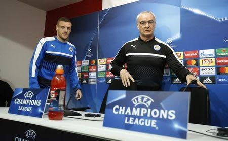 Football Soccer - Leicester City Press Conference & Training - Ramon Sanchez Pizjuan Stadium, Seville, Spain - 21/2/17 Leicester City's Jamie Vardy and Leicester City manager Claudio Ranieri during the press conference Action Images via Reuters / John Sibley Livepic