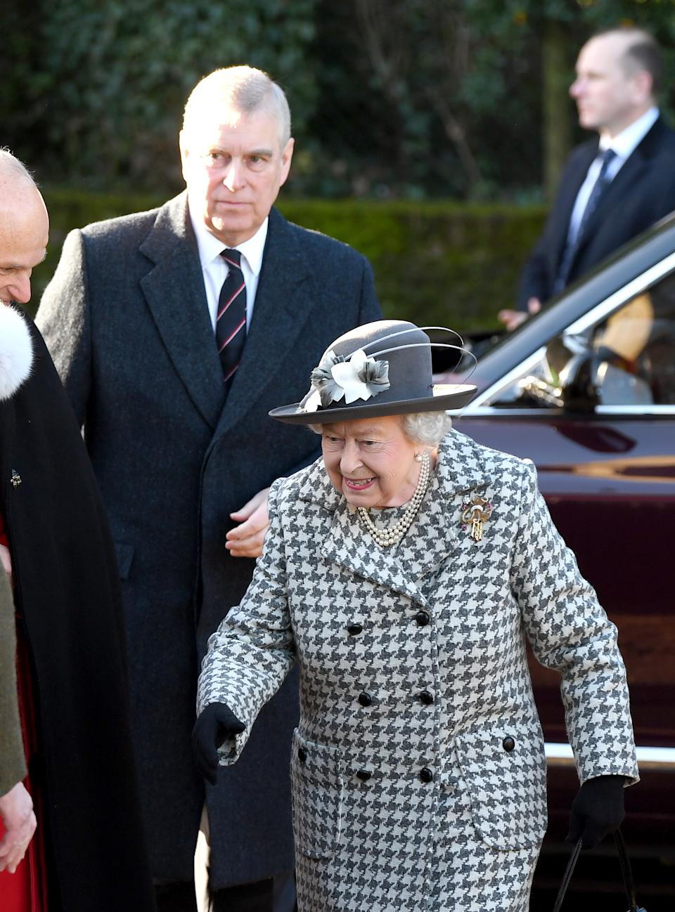 KING'S LYNN, ENGLAND - JANUARY 19: Queen Elizabeth II and Prince Andrew, Duke of York attend church at St Mary the Virgin church at Hillington in Sandringham on January 19, 2020 in King's Lynn, England. (Photo by Karwai Tang/WireImage)