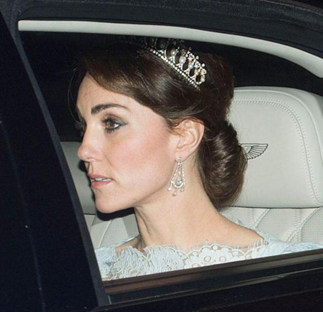 The Duchess of Cambridge attends the Diplomatic Reception at Buckingham Palace in December 2015. (Photo: Mark Cuthbert/UK Press via Getty Images)